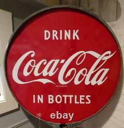Double Sided Porcelain Coca Cola Lollipop Sign vtg retro Soda Advertising