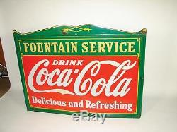 Drink COCA COLA Delicious & Refreshing Fountain Service Vintage Porcelain Sign