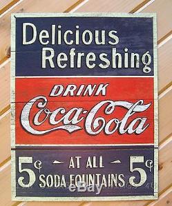 Drink Coke Coca Cola TIN SIGN 5¢ rustic vtg metal wall decor soda fountain 1619