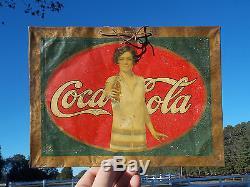 EXTREMELY RARE! ORIGINAL 1927 TIN COCA COLA COKE ADVERTISING SIGN! No Reserve