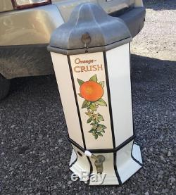 Early 1900s Orange Crush 8-sided Porcelain Dispenser Sign Soda Pop Coca cola