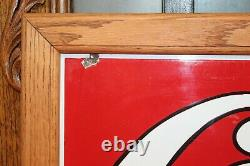 Early 1900s Original Coca-Cola Porcelain Single Sided Sign in Wood frame by IR