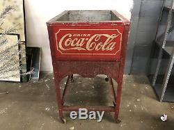 Early COCA-COLA Glascock Soda Bottle Cooler COKE Machine Embossed Tin Sign 1930s