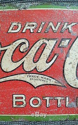 Early Rare Antique 1908 Coca Cola Tin 5 Cent Bottle Sign Original 34.5