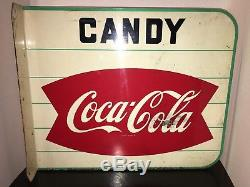 Estate Find SUPER RARE 1950s Coca Cola Flanged Fishtail Candy Sign 2 Sided Metal