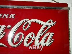 Excellent! 1941 COCA-COLA Reverse GLASS SIGN Art Deco CHROME Bars LARGE RED+Chain