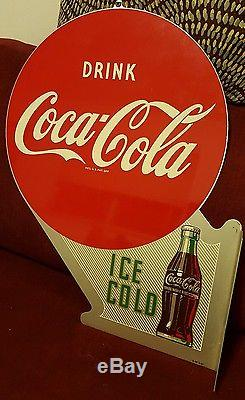 Excellent NOS Vintage Metal Coca Cola Sign, 1951 Double Sided Flanged Sign