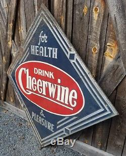 Extremely RARE 1948 Cheerwine Diamond Sign. Painted Metal. 45inx45in