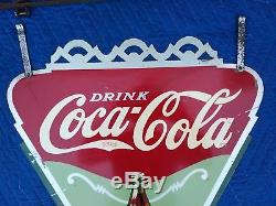 Extremely Rare Coca Cola Hanging Triangle Double Sided Metal Sign 1937
