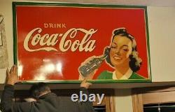 Gorgeous 1940 Coca Cola 56 x 33 sign pretty girl w Coke soda bottle gas oil