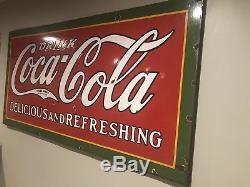 HUGE 1930 Coca Cola Porcelain Sign with frame 8 FT wide Advertising Antique