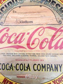 HUGE Antique 43 Gallon COCA COLA Wooden SYRUP BARREL advertising coke sign soda