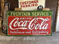 HUGE VinTagE 1930's COCA-COLA Coke FOUNTAIN SERVICE Porcelain Sign 8' x 4-1/2