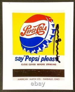 Hand signed signature Andy Warhol Pop Art Pepsi coke sign art with COA