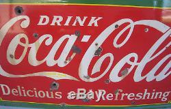 Huge 1933 Luncheonette Drink Coca Cola Porcelain Advertising Sign RARE