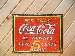 Ice Cold Coca Cola Always 5¢ TIN SIGN metal wall decor vintage coke diner 1471