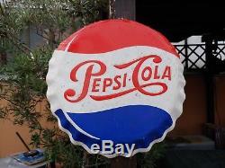 Insegna PEPSI COLA anni 50/60 tappo bottone sign Metallo pubblicitaria coca