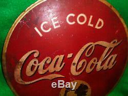 KAY DISPLAYS ICE COLD COCA COLA with GIRL MOTIF, CIRCULAR, 1930's ESTATE FRESH