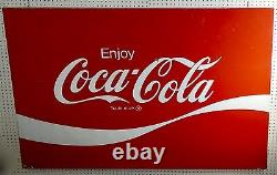 LARGE, METAL, VINTAGE, ORIGINAL Coca-Cola Sign. Red and White. 44 x 66. 1970s