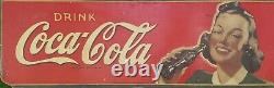 LARGE ORIGINAL VINTAGE 1940s COCA COLA MASONITE SIGN ADVERTISING LADY 54x18