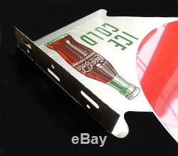 LARGE VINTAGE 1952 METAL COCA-COLA COKE DOUBLE SIDED FLANGE SIGN EXCELLENT SHAPE