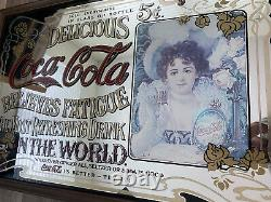 LARGE VINTAGE COCA COLA MIRROR IN WOOD FRAME CLASSIC PUB BAR SIGN (36x24)