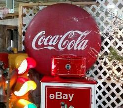 Large 1950's Coca-Cola Button Sign 48 Good Condition
