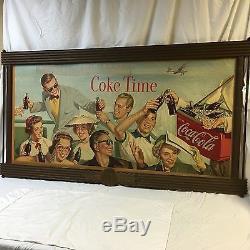Large 50's Coca Cola Double Side Seasonal Cardboard Litho Sign with Kay Wood Frame