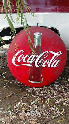 Large Authentic Vintage 1950's Porcelain 36 Coca-Cola Metal Button Sign