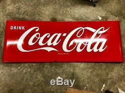 Large Coca-Cola Porcelain Excellent Condition Sled Sign Coke
