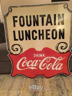 Large Double Sided Coca Cola Luncheon Porcelain Sign