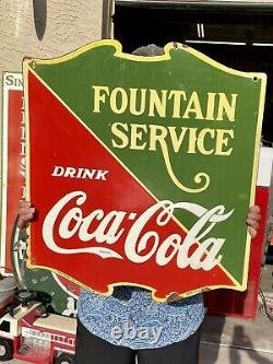 Large Porcelain Coca Cola Fountain Service Sign 25x22.5 double sided