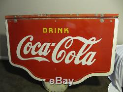 Large Porcelain Pre-War Coca- Cola Sign 60'' W x 44 3/4'' L Two sided