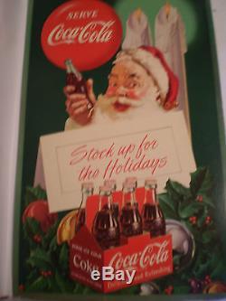 Large RARE ORIGINAL Vtg 1952 Coca-Cola Santa Advertising Store Sign Soda 1950s