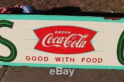 Large Rare Vintage c. 1960 Coca Cola Gas Oil Fishtail Soda Pop 96 Metal Sign