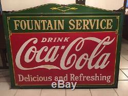Large Vintage 1933 Coca Cola Fountain Service Porcelain Advertising Sign
