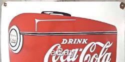 Large Vintage 1939 Coca Cola Fountain 28 Porcelain Enamel Metal Sign 1 sided