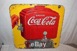 Large Vintage 1939 Coca Cola Soda Fountain Pop 2 Sided 26 Porcelain Metal Sign