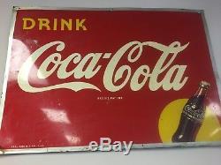 Large Vintage 1948 Coca Cola Soda Pop Bottle Gas Station 31 Metal Sign