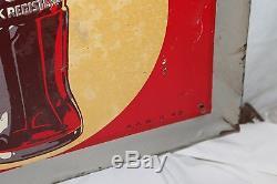 Large Vintage 1948 Coca Cola Soda Pop Bottle Gas Station 54 Metal Sign