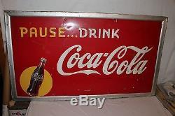 Large Vintage 1948 Drink Coca Cola Soda Pop Bottle 56 Embossed Metal Sign