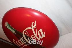 Large Vintage 1950's Coca Cola Bottle Button Soda Pop 36 Metal Sign