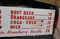 Large Vintage 1950's Coca Cola Restaurant Menu Soda Pop 60 Porcelain Metal Sign