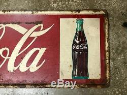 Large Vintage 1950's Coca Cola Soda Pop Bottle Gas Station 54 Metal Sign