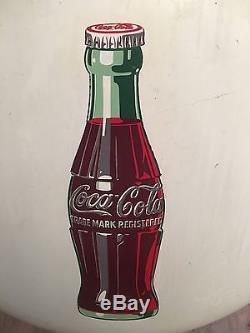 Large Vintage 1950s Coca Cola Button Soda Pop 36 Porcelain Metal Sign