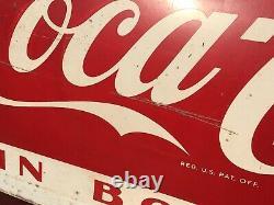 Large Vintage 1950s Drink Coca Cola in Bottles Metal Advertising Sign