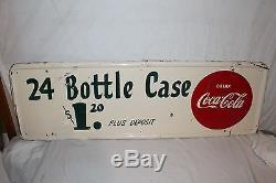 Large Vintage 1951 Coca Cola Soda Pop 24 Bottle Case $1.20 Metal 50 Sign