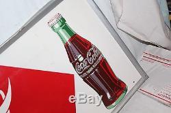 Large Vintage 1951 Drink Coca Cola Soda Pop Bottle Gas Station 54 Metal Sign