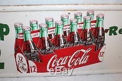 Large Vintage 1954 Coca Cola Pick Up 12 Soda Pop Bottle 50 Metal Sign