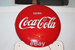 Large Vintage 1954 Coca Cola Pick Up 12 Soda Pop Bottle 54 Metal Button Sign
